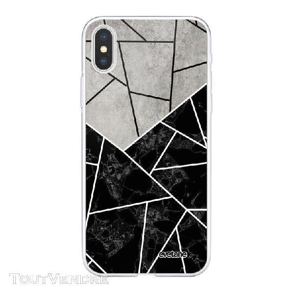 Coque iphone xs max souple transparente duo noir-gris marbre