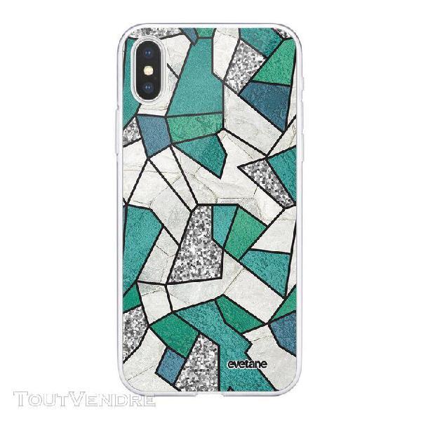 Coque iphone xs max souple transparente marbre bleu vert et