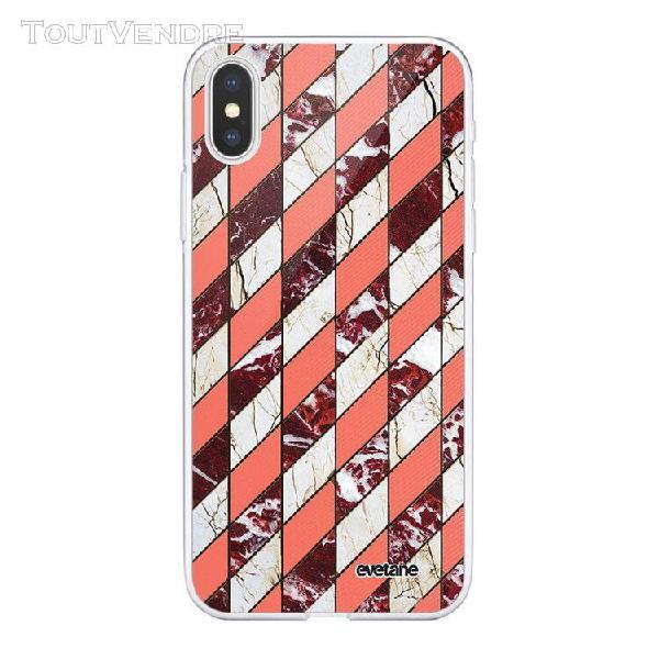 Coque iphone xs max souple transparente marbre corail et bor