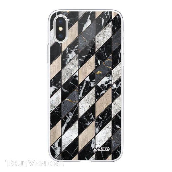 Coque iphone xs max souple transparente marbre gris beige mo