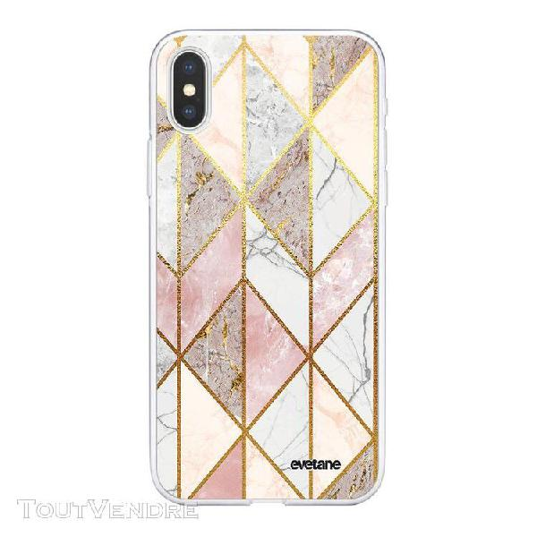 Coque iphone xs max souple transparente marbre rose losange