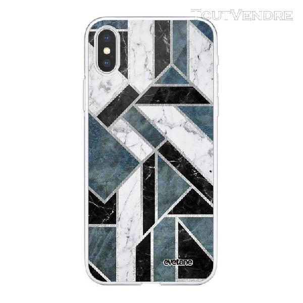 Coque iphone xs max souple transparente marbre vert graphiqu