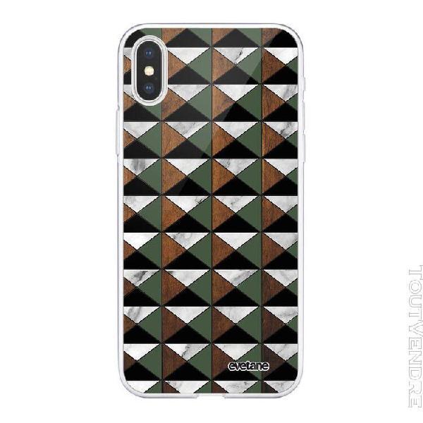 Coque iphone xs max souple transparente marbre vert kaki boi
