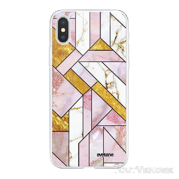 Coque iphone xs max souple transparente rose doré marbre