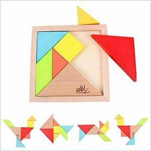 Gobus 7 pieces colorful wooden tangram puzzle jigsaw puzzle