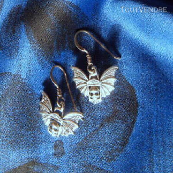 Boucles argent poinçonné chauve souris tete de mort ailes