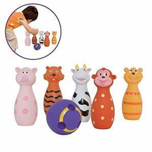 Ludi - jeu de 5 quilles en forme d'animaux et 1 balle.
