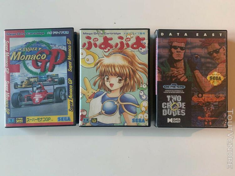 3 jeux mega drive - two crude dudes genesis, puyo puyo, supe