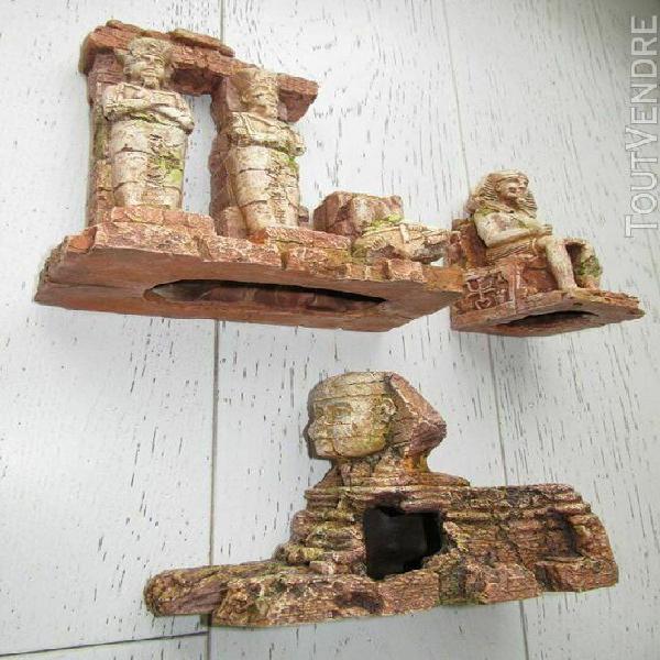 Lot de décoration aquarium / terrarium: sphinx pyramide pha