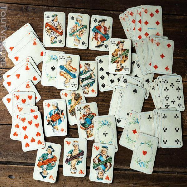 Lot de 9 petits jeux de cartes anciens oiseaux et fleurs au