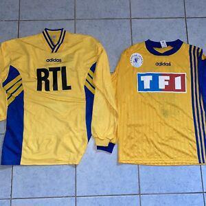 Lot de deux maillots foot shirt porté match worn ancien
