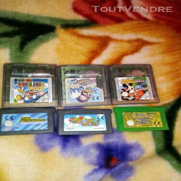 Lot de jeux game boy color et advance(pokemon vert feuille)
