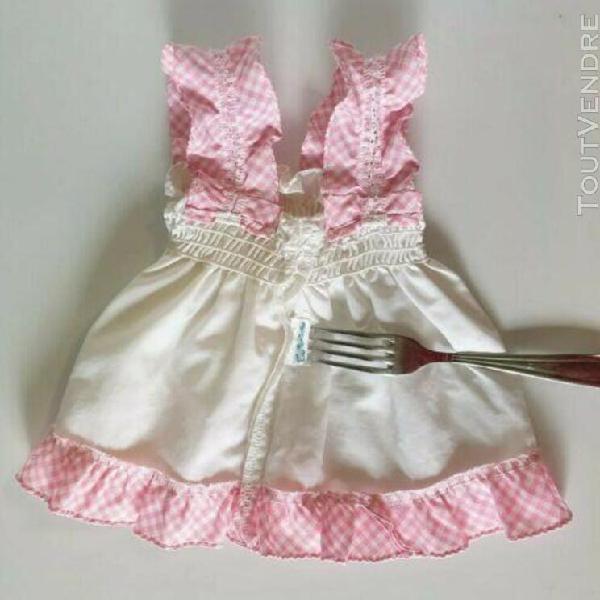 Vêtement vintage 60/70 robe dentelle rose vichy blanc