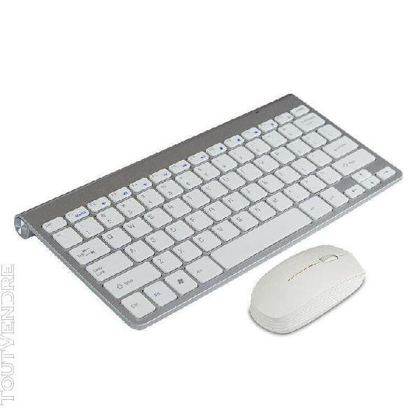 Clavier sans fil et souris optique sans fil blanc ultra fin