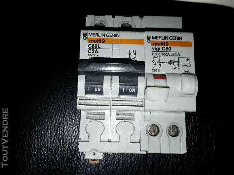 1 disjoncteur 3 a + differentiel 300ma merlin gerin multi