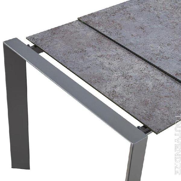 Geld - table repas rectangulaire métal et verre
