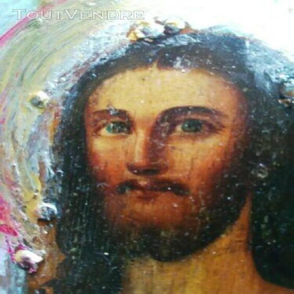 Icone russe 31-24 cm résurrection visages xix siècle
