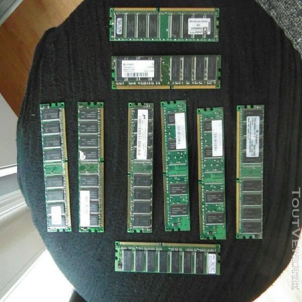 Ram ddr lot de 9 barrettes 64mb, 128mb, 256mb, 512mb 133 a