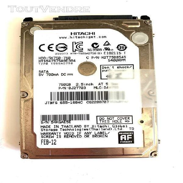 """Hdd disque dur sata 2.5"""" 750gb 750go hitachi 655-1684c 5"""