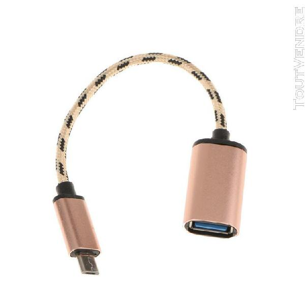 câble otg micro usb male à usb 2.0 femelle connecteur