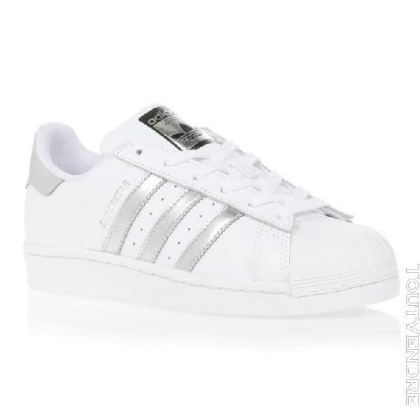 Adidas originals baskets aq3091 - femme - white-silver met.-