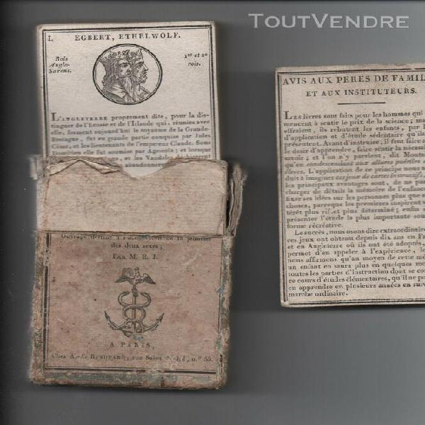 Ancien jeu cartes historiques abrégé rois angleterre jouy