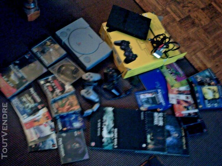 Jeux play station 1 + play station 2 + cordon + 2 manettes +
