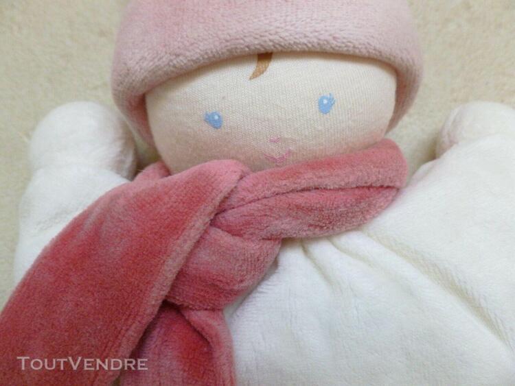 adorable doudou hochet corolle velours ras bleu ciel et blan