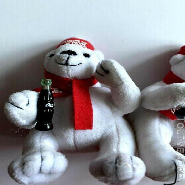 lot de 3 mini ours blanc coca cola peluche collector ! 10cm