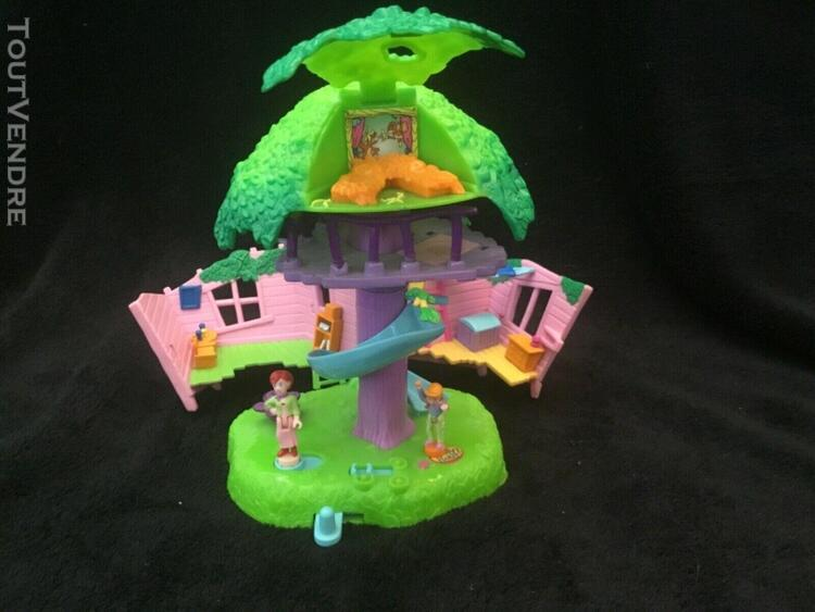 polly pocket mini (petite maison arbre + 2 personnage compl