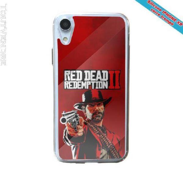 Coque silicone iphone xr verre trempé fan de red dead