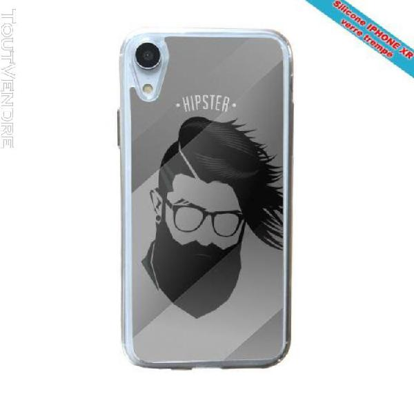 Coque silicone iphone xr verre trempé hipster coupe fun