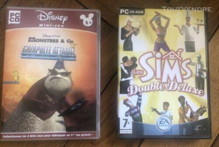 lot 2 jeux 6+/7+ pc cd monstres et compagnie et les sims