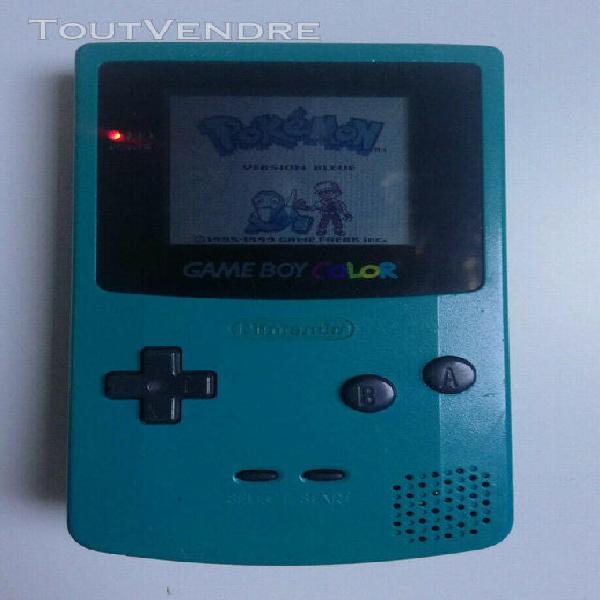 nintendo gameboy color turquoise vitre neuve + pokemon bleu