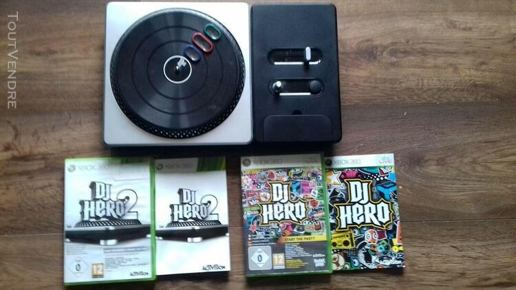 platine + 2 jeux dj hero - xbox 360