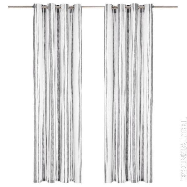 rideaux et anneaux métal 2pcs coton 140x175cm rayure