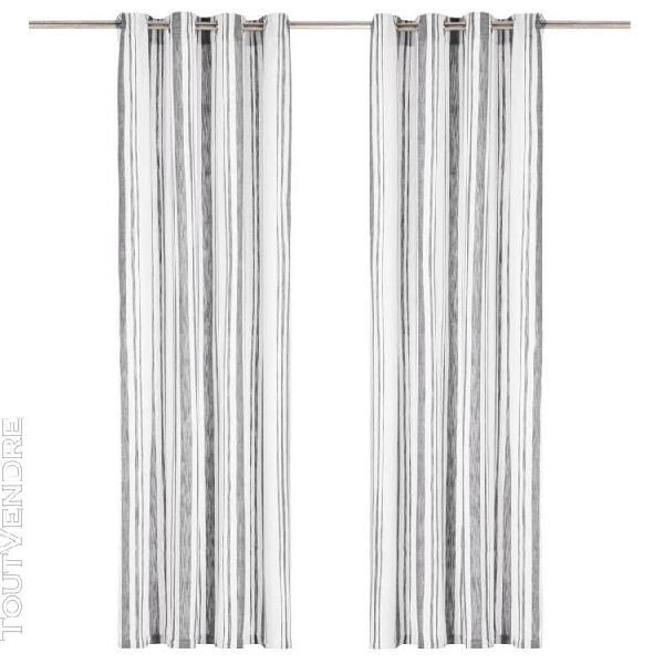 rideaux et anneaux métal 2pcs coton 140x245cm rayure