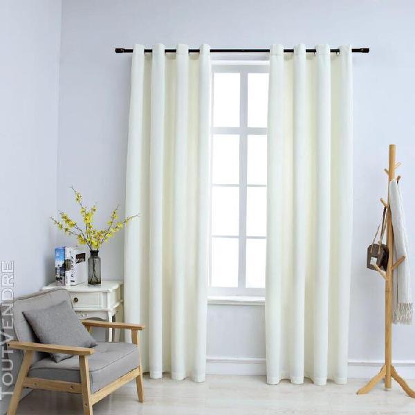 rideaux occultants avec anneaux 2 pcs velours crème 140x225