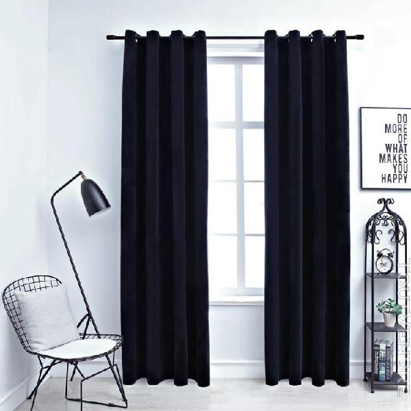rideaux occultants avec anneaux 2 pcs velours noir 140x225 c