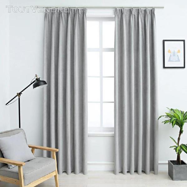 rideaux occultants avec crochets 2 pcs gris 140x225 cm