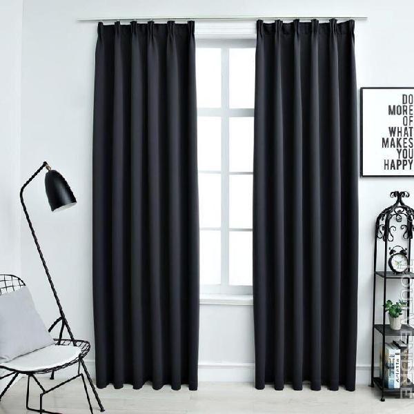 rideaux occultants avec crochets 2 pcs noir 140x245 cm