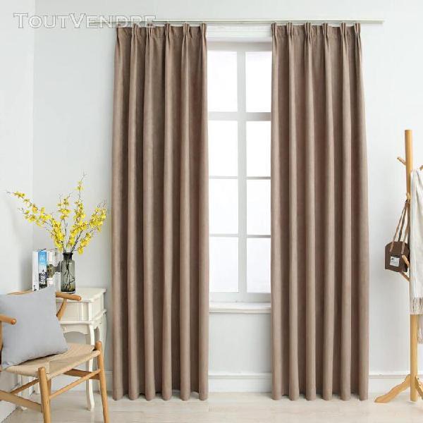 rideaux occultants avec crochets 2 pcs taupe 140x245 cm