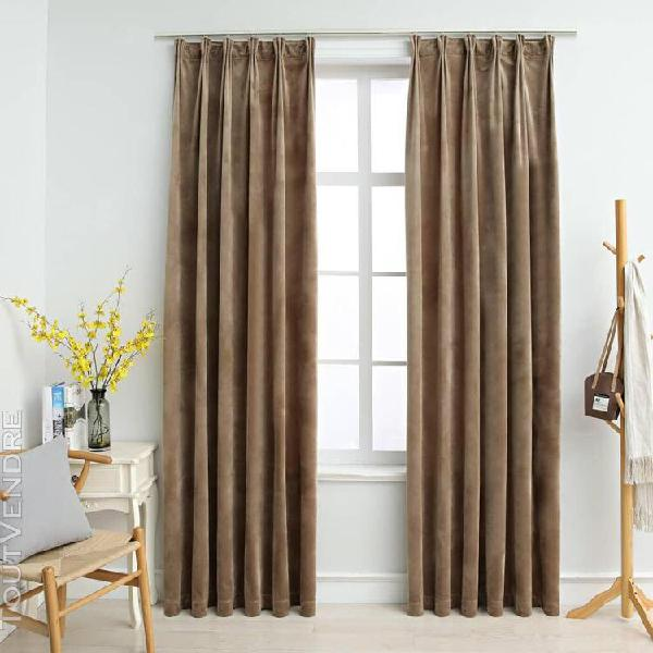 rideaux occultants avec crochets 2 pcs velours beige 140x225