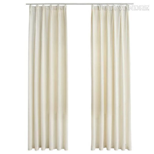 rideaux occultants avec crochets 2 pcs velours crème
