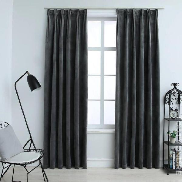rideaux occultants avec crochets 2pcs anthracite noir 140x22