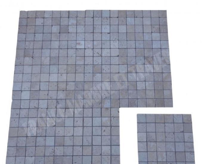 Travertin classique mosaïque 5x5 cm rustique en stock