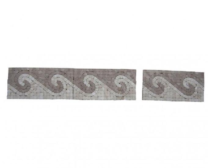 Travertin mixte mosaïque frise 30,5x15,5 cm antique en