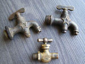 Lot 3 anciens robinets en bronze,laiton,cuivre,étoile,vanne