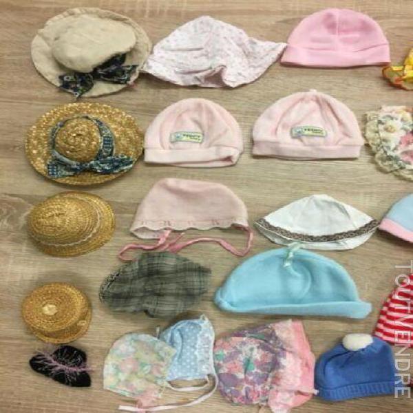 P49__ lot bonnets chapeaux casquettes pour poupée lot de 31