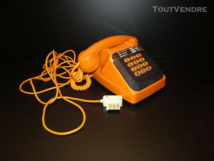 Téléphone orange ptt année design 70 80 vintage socotel
